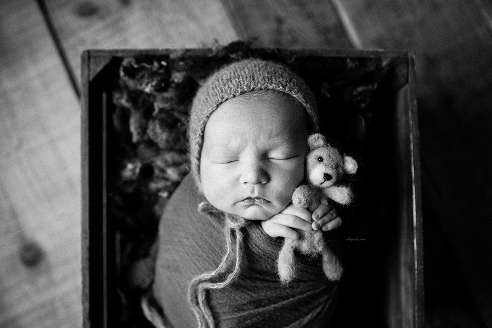 moody black and white photo of baby in box against hardwood floor planks holding a little bear