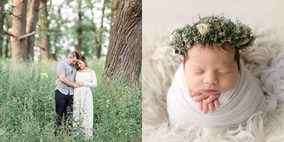 Two images of a maternity session and a newborn photography session