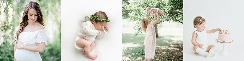 a collection of photos that showcase maternity sessions to newborn photography to children portrait sessions