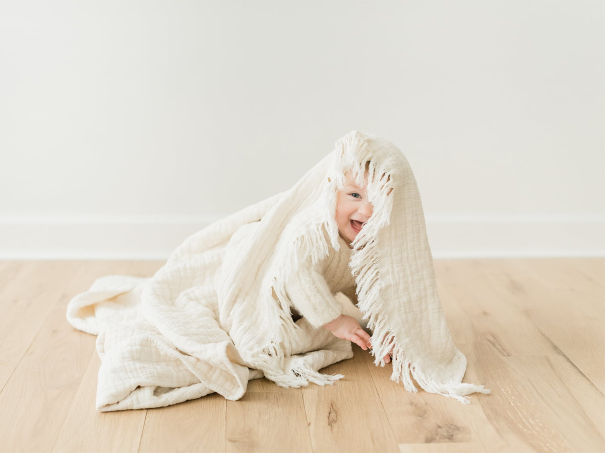 boy and a blanket studio photo session